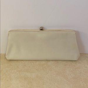 Vintage mid century clutch purse evening bag cream